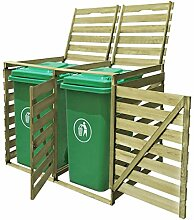 WELLIKEA Mülltonnenbox für 2 Tonnen 240 L