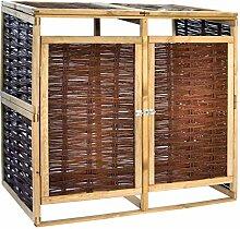 WELLIKEA Mülltonnenbox für 2 Tonnen Kiefernholz