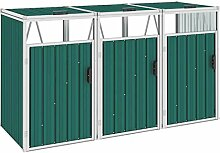 WELLIKEA Mülltonnenbox für 3 Mülltonnen Grün