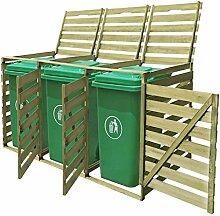 WELLIKEA Mülltonnenbox für 3 Tonnen 240 L