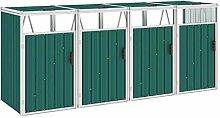 WELLIKEA Mülltonnenbox für 4 Mülltonnen Grün