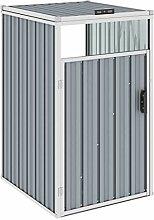 WELLIKEA Mülltonnenbox Grau 72×81×121 cm Stahl