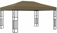 WELLIKEA Pavillon 3x4 m Taupe Stoff