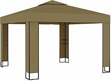 WELLIKEA Pavillon mit Doppeldach 3x3x2,7 m Taupe