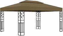 WELLIKEA Pavillon mit Doppeldach 3x4 m Taupe 180