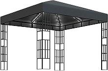 WELLIKEA Pavillon mit Lichterketten 3x3 m Anthrazi