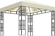 WELLIKEA Pavillon mit Lichterketten 3x3 m Creme