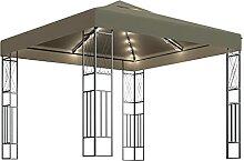WELLIKEA Pavillon mit Lichterketten 3x3 m Taupe