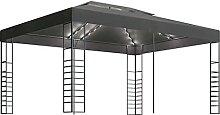 WELLIKEA Pavillon mit Lichterketten 3x4 m Anthrazi