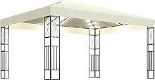 WELLIKEA Pavillon mit Lichterketten 3x4 m Creme
