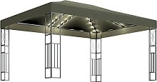 WELLIKEA Pavillon mit Lichterketten 3x4 m Taupe