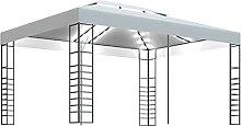 WELLIKEA Pavillon mit Lichterketten 4x3x2,7 m Wei?