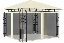 WELLIKEA Pavillon mit Moskitonetz 3x3x2,73 m Creme