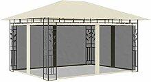 WELLIKEA Pavillon mit Moskitonetz 4x3x2,73 m Creme