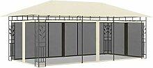 WELLIKEA Pavillon mit Moskitonetz 6x3x2,73 m Creme