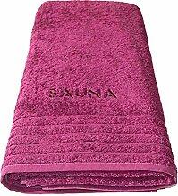 Wellness Saunatuch orchidee - pink lila, Badetuch XXL bestickt mit Sauna 80x200 cm aus 100 % Baumwolle