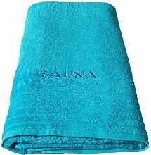 Wellness Saunatuch türkis - blau, Badetuch XXL bestickt mit Sauna 80x200 cm aus 100 % Baumwolle