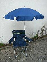 Wellness-SET-Faltstuhl d-blau+Schirm blau 150 cm + Holly ® 360° Universalgelenkhalterung GVC - 25 EUR - mit Gummischutzkappen - VERTRIEB - Holly® Produkte STABIELO - holly sunshade -