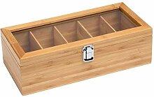 welltobuy Teebox aus Holz – Teekiste mit 5