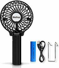 Welltop - Mini Hand-Ventilator tragbar batteriebetrieber Ventilator Schreibtisch faltbarer persönlicher Ventilator mit 18650Akku für Zuhause, Outdoor, bei Reisen