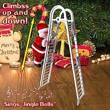 WELLXUNK Weihnachtsmann auf Leiter, Elektrische