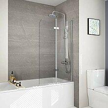 WELMAX 120 x 140cm Badewannen Duschwand