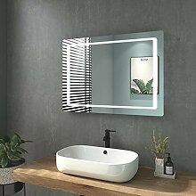 WELMAX Badspiegel mit Beleuchtung 80 x 60 cm LED