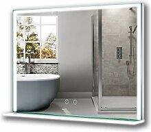 welmax Badspiegel mit Beleuchtung und Glas-Ablage