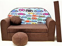 Welox Kindersofa Bettfunktion 3in1 - Kindersessel, Ausziehbett, braun kleine Autos
