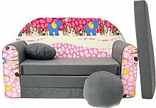 Welox Kindersofa Bettfunktion 3in1 - Kindersessel, Ausziehbett, grau Afrika