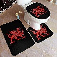 Welsh red Dragon Badematte Set 3tlg Polyesterfaser