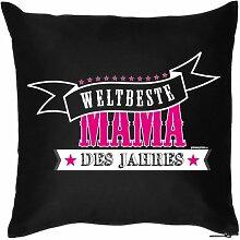 WELTBESTE MAMA DES JAHRES - Bezug für Kissen 40 x 40cm - MAMA VERSTEHER - für Mütter Tag zum Geburtstag Geschenk für Sie - Print Kissenhülle in schwarz : )