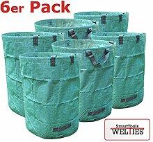 WeltiesSmartTools 6er Pack XXL Laubsack 300L PROFIQUALITÄT mit verstärkten Griffnähten stabil reißfest zum transportieren oder kompostieren von Gartenabfällen (6)