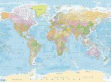 Weltkarte Englisch politisch Foto-Tapete 4-teilig - Fototapete Wallpaper 232x315cm. Beigelegt sind eine Packung Kleber und eine Klebeanleitung.