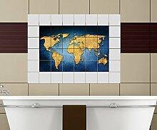 Weltkarte Fliesenaufkleber 15 10 25 20 cm