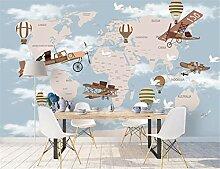 Weltkarte Flugzeug Feuer Ballon 3D Cartoon Tapete