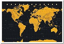 Weltkarte in Schwarz & Gold Poster Kork Pinnwand