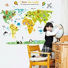 Weltkarte Wand Aufkleber Home Aufkleber PVC Wandmalereien, Vinyl, Papier, House Dekoration Tapete Wohnzimmer Schlafzimmer Küche Kunst Bild DIY für Kinder Teen Senior Erwachsene Kinderzimmer Baby