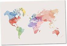 Weltkarte Wasserfarben Stil, Schild / Wandbild / Wanddeko - Landkarte Globus / Dekoration Wohnung - Geschenkidee Geburtstagsgeschenk Freundin - Reise Geschenk