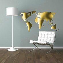 Weltkarte Worldmap Wandtattoo Wandaufkleber Sticker Aufkleber Wand (86 x 160 cm, Gold)