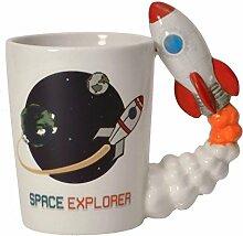Weltraumrakete 3D Kaffeebecher mit Rakete als Griff - Space Shuttle 3D Tasse Rakete 3D Kaffeetasse Weltraum 3D Becher