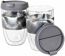 WELTRXE 2er Set Glas-Kaffeebecher - doppelwandig