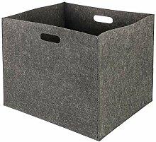 Wenco Filzkorb quadratisch, Filz, grau, 33x37x5 cm