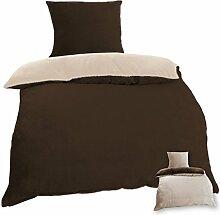 Wende-Bettwäsche Cashmere Touch Plüsch mit und ohne Daunen Federfüllung, Bettdecke 135x200 cm + Kissen 80x80 cm, gemütlich und weich in vielen verschiedenen Farben erhältlich (dunkelbraun - taupe)