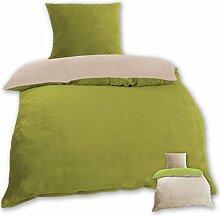 Wende-Bettwäsche Cashmere Touch Plüsch mit und ohne Daunen Federfüllung, Bettdecke 135x200 cm + Kissen 80x80 cm, gemütlich und weich in vielen verschiedenen Farben erhältlich (grün - beige / inkl. Füllkissen & Kassettendecke)