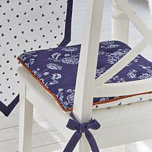 Wende-Stuhlkissen in Blau-Weiß für den