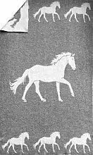 Wende-Wolldecke Plaid Kuscheldecke Pferdemotiv Pferd 100% Wolle 130x200cm weiß/grau