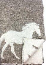 Wende-Wolldecke Plaid Kuscheldecke Pferdemotiv