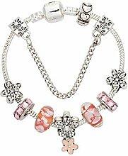 WENEWU Armbänder,Blume Anhänger Glas Bead