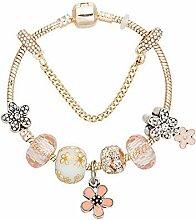 WENEWU Armbänder,Blumen Anhänger Kristall Glas